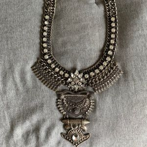 BaubleBar Aztec Silver Bib Statement Necklace